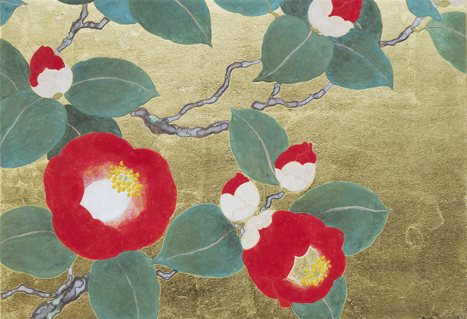 Ai Akino, Red Camellias at the end of Spring I, 2016 Japanese pigments, ink and gold leaf on hemp paper, 15.8 x 22.7 cm.