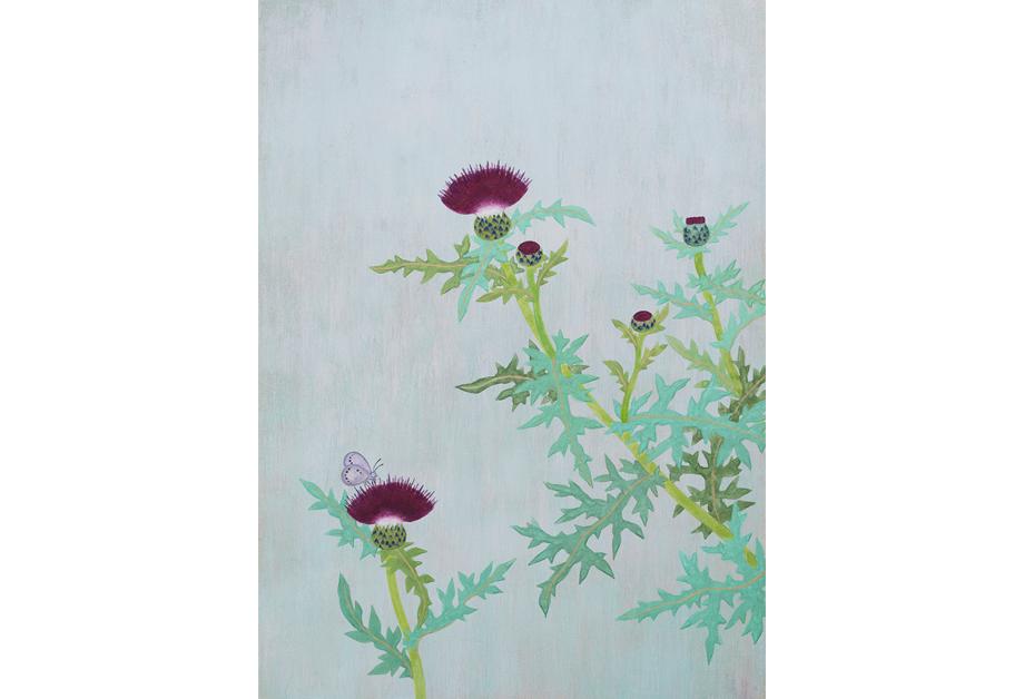 Ai Akino, Powder Blue, 2016 japanische Pigmente auf Papier, 36,3 x 25,7 cm.