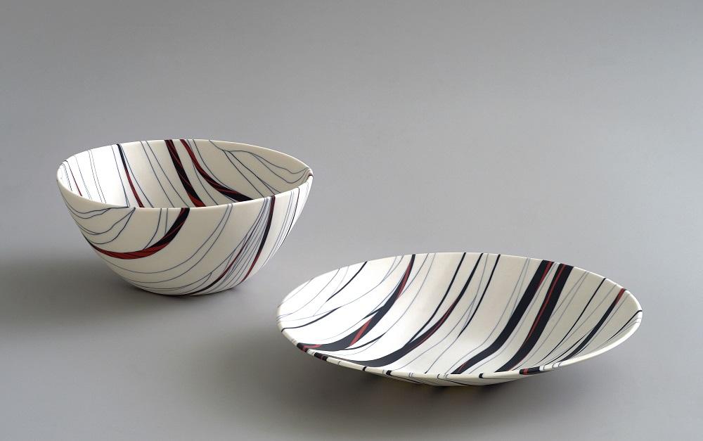 Angela Burkhardt-Guallini, Two bowls, 2017, seto porcelain, neriage technique, 12 x 25 x 25 cm/ 6 x 33 x 33 cm