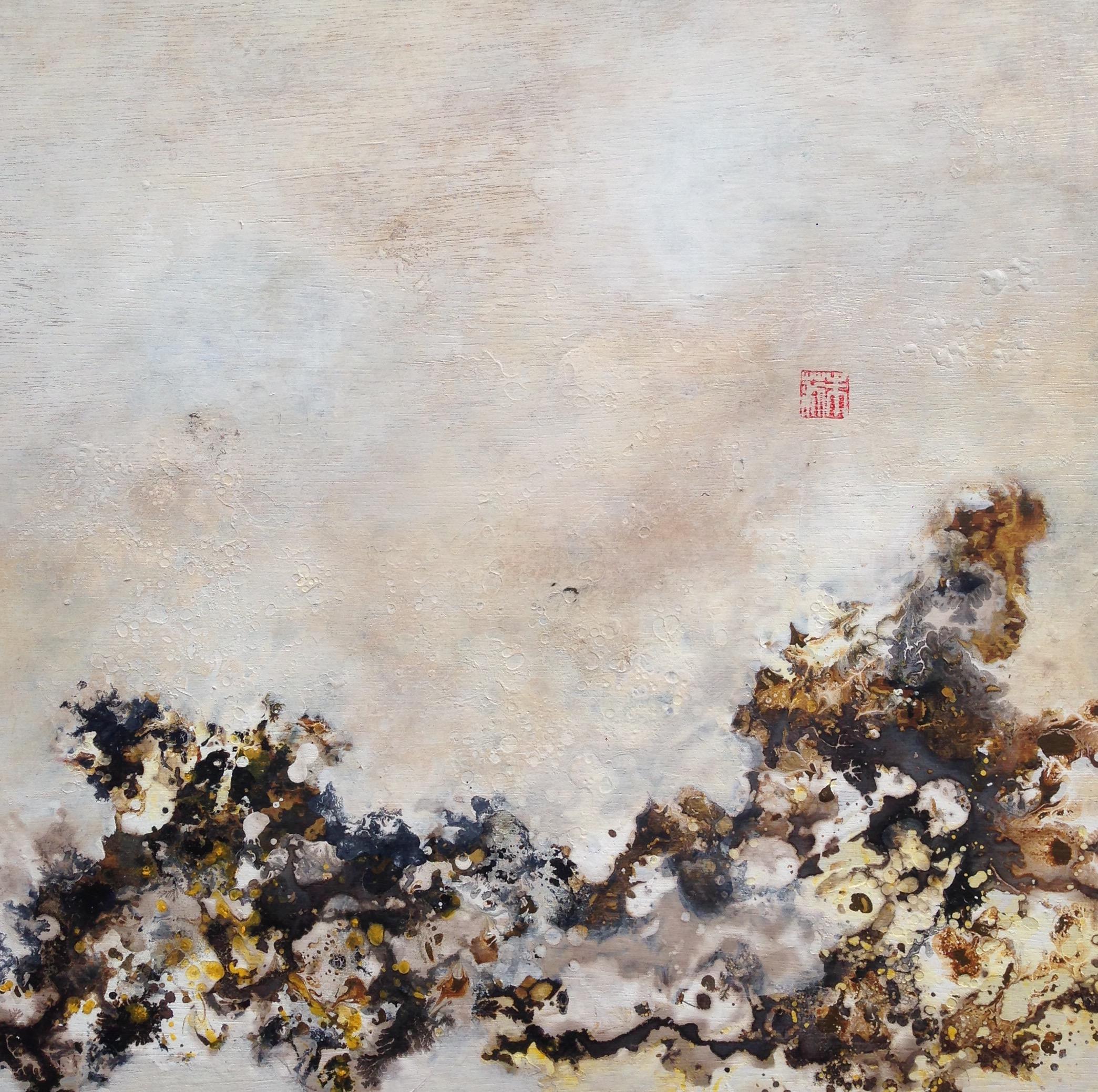 Julie Hauer, Untitled, 2017, Mischtechnik auf Holz, 50 x 50 cm