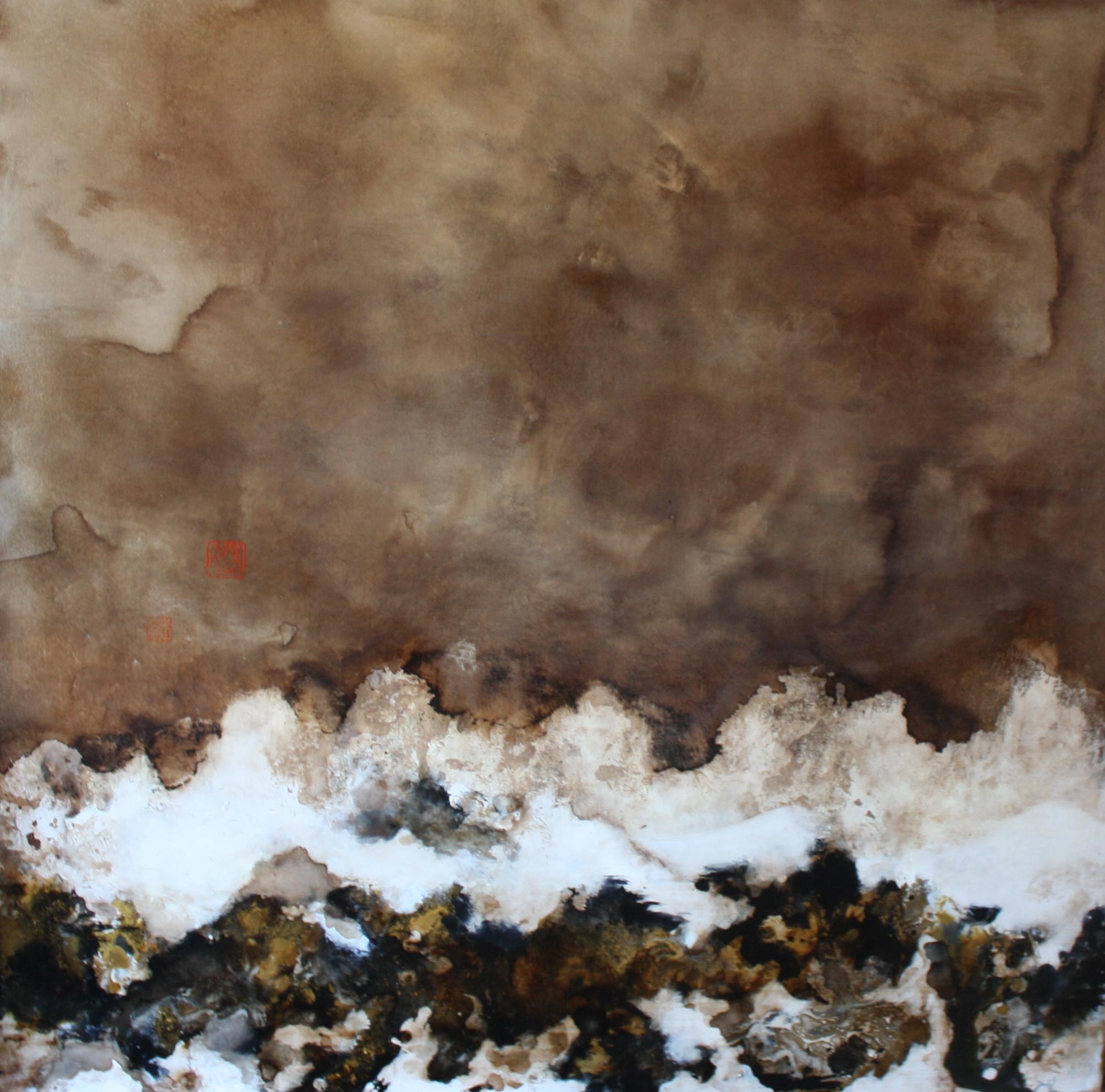Julie Hauer, Ibuki, 2014, Mischtechnik auf Leinwand, 100 x 100 cm