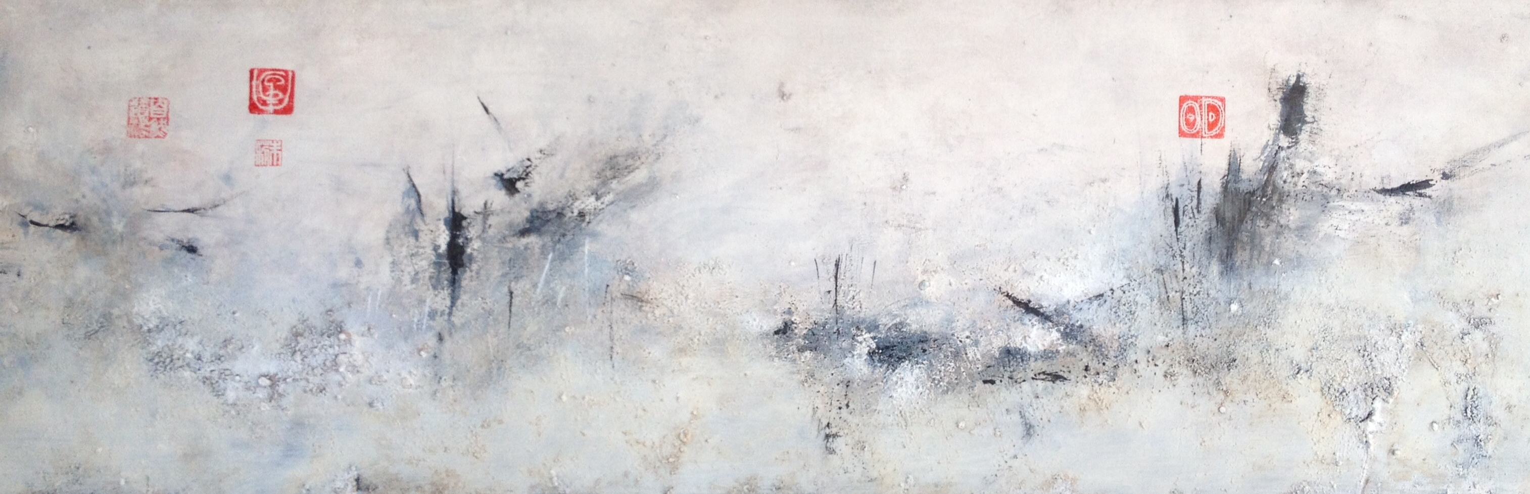 Julie Hauer, Untitled, 2015, Mischtechnik auf Leinwand, 45 x 120 cm