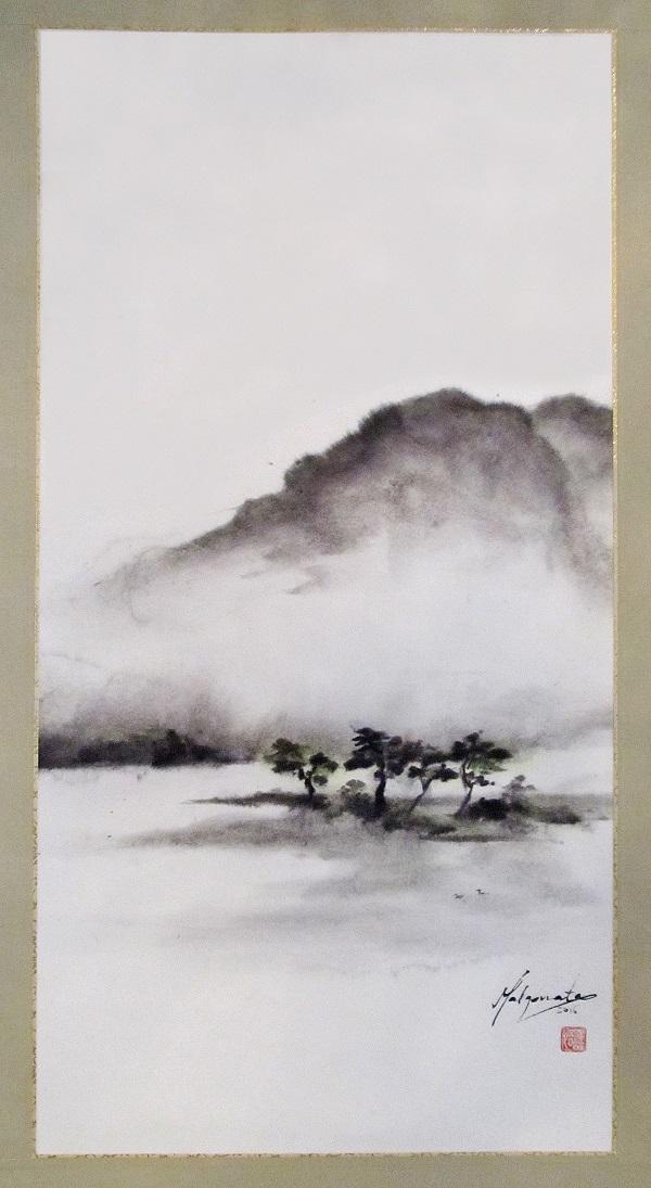 Malgorzata Olejniczak, Landschaft, 2016, Hängerolle, Tusche und antike Farbe auf japanischem Papier, 66 x 33,5 cm, mit Seidenmontierung 119 x 45 cm (Ausschnitt)
